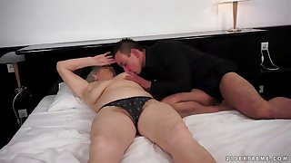 chubby mature granny with a hairy pussy moans while getting drilled hardcore